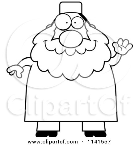 Cartoon Clipart Of A Black And White Chubby Muslim Man Waving - Vector Outlined Coloring Page by Cory Thoman
