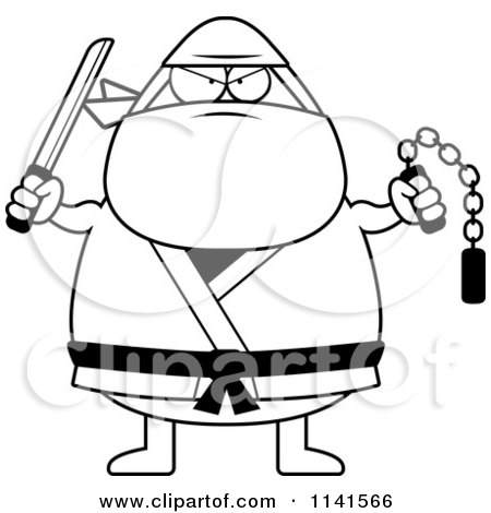 Cartoon Clipart Of A Black And White Chubby Ninja Man With ...