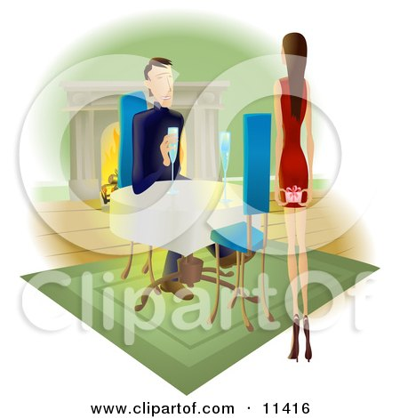 Woman Approaching a Man With a Gift Behind Her Back Clipart Illustration by AtStockIllustration