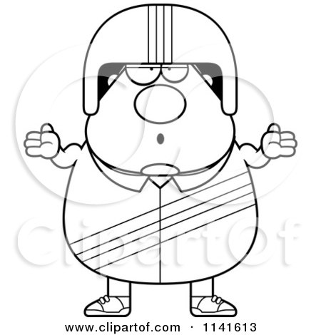 Cartoon Clipart Of A Black And White Careless Shrugging Race Car Driver - Vector Outlined Coloring Page by Cory Thoman