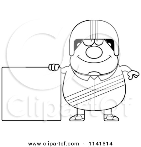 Cartoon Clipart Of A Black And White Happy Race Car Driver With A Sign - Vector Outlined Coloring Page by Cory Thoman