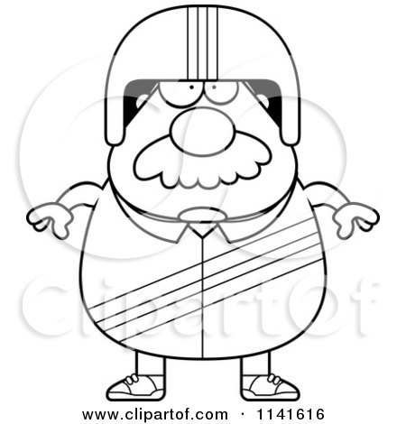 Cartoon Clipart Of A Black And White Bearded Race Car Driver - Vector Outlined Coloring Page by Cory Thoman
