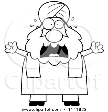 Cartoon Clipart Of A Black And White Scared Chubby Muslim Sikh Man - Vector Outlined Coloring Page by Cory Thoman