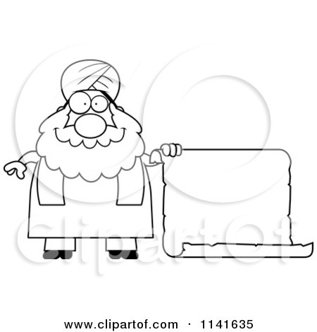 Cartoon Clipart Of A Black And White Chubby Muslim Sikh Man With A Sign - Vector Outlined Coloring Page by Cory Thoman