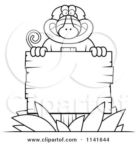Cartoon Clipart Of A Black And White Baboon Monkey Behind A Wooden Sign - Vector Outlined Coloring Page by Cory Thoman