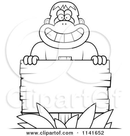 Cartoon Clipart Of A Black And White Bigfoot Sasquatch With A Wooden Sign - Vector Outlined Coloring Page by Cory Thoman