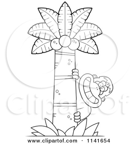 Cartoon Clipart Of A Black And White Bigfoot Sasquatch Behind A Coconut Palm Tree - Vector Outlined Coloring Page by Cory Thoman