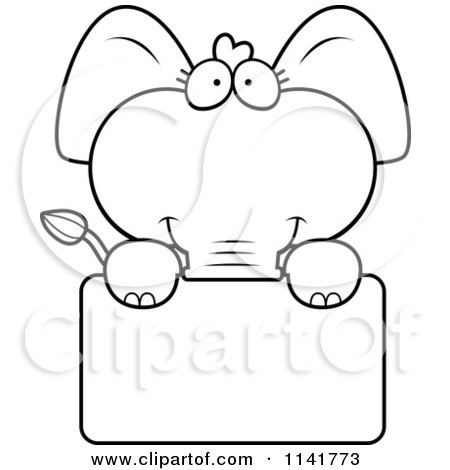cartoon clipart of a black and white cute baby elephant holding a sign vector outlined coloring page by cory thoman
