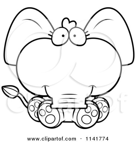 cute baby elephant sitting vector outlined coloring page u0026middot preview clipart - Cute Baby Elephant Coloring Pages