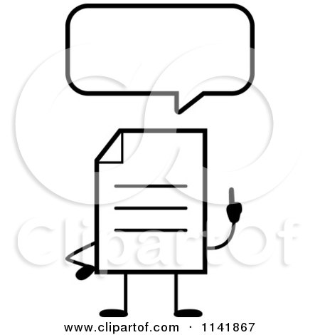 Cartoon Clipart Of A Black And White Note Document Mascot Talking - Vector Outlined Coloring Page by Cory Thoman