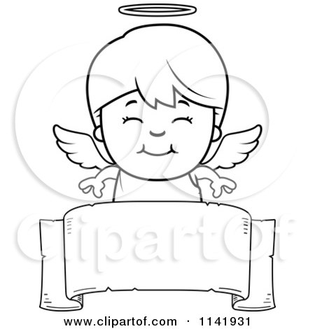 Cartoon Clipart Of A Black And White Smiling Angel Boy Over A Banner - Vector Outlined Coloring Page by Cory Thoman