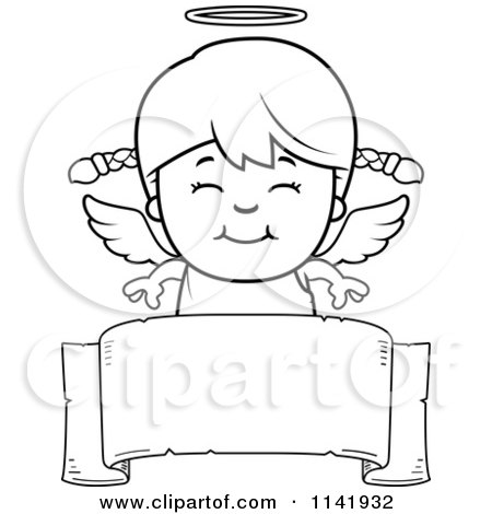 Cartoon Clipart Of A Black And White Smiling Angel Girl Over A Banner - Vector Outlined Coloring Page by Cory Thoman