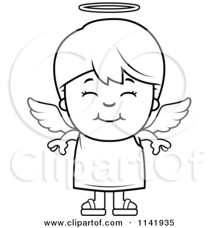 Cartoon Clipart Of A Black And White Smiling Angel Boy - Vector Outlined Coloring Page by Cory Thoman