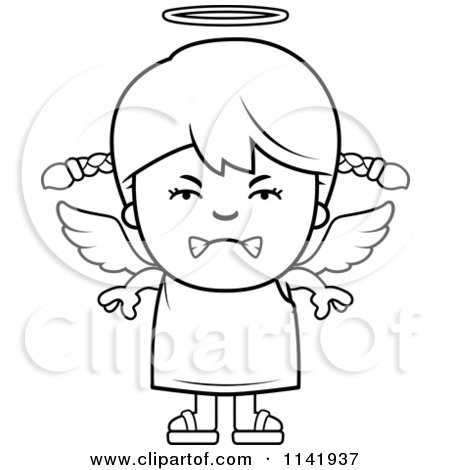 Cartoon Clipart Of A Black And White Mean Angel Girl - Vector Outlined Coloring Page by Cory Thoman