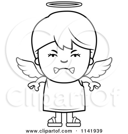 Cartoon Clipart Of A Black And White Mean Angel Boy - Vector Outlined Coloring Page by Cory Thoman