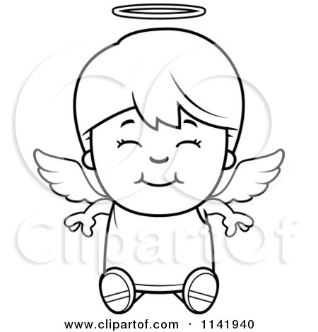Cartoon Clipart Of A Black And White Smiling Sitting Angel Boy - Vector Outlined Coloring Page by Cory Thoman