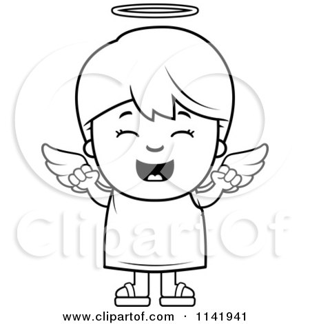 Cartoon Clipart Of A Black And White Happy Angel Boy - Vector Outlined Coloring Page by Cory Thoman