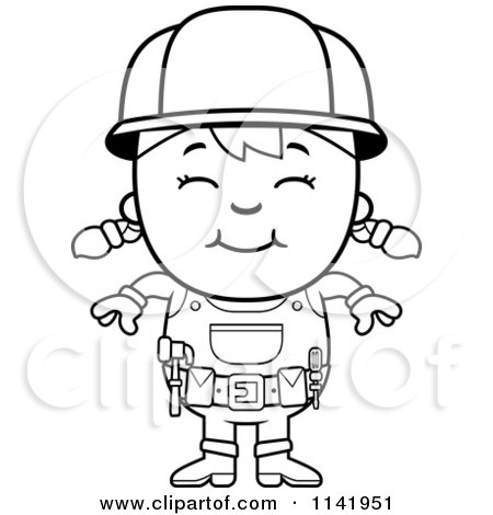 cartoon clipart of a black and white smiling handy girl vector outlined coloring page by cory thoman - Construction Worker Coloring Page