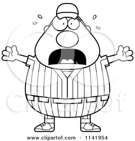 Cartoon Clipart Of A Black And White Stressed Male Baseball Player - Vector Outlined Coloring Page by Cory Thoman