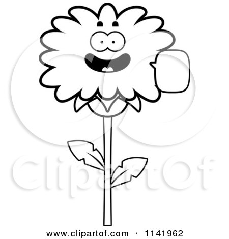 Cartoon Clipart Of A Black And White Talking Dandelion Flower