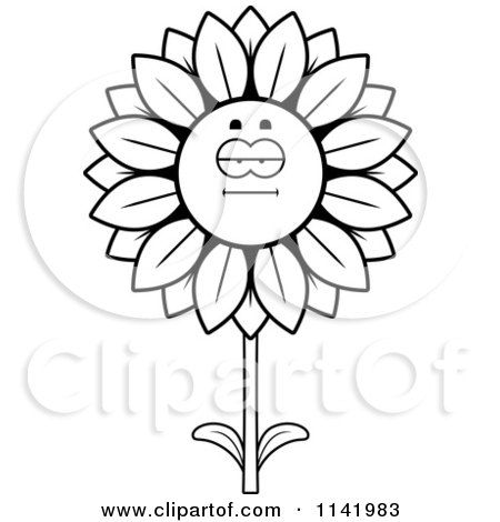 Cartoon Clipart Of A Black And White Bored Sunflower Character - Vector Outlined Coloring Page by Cory Thoman