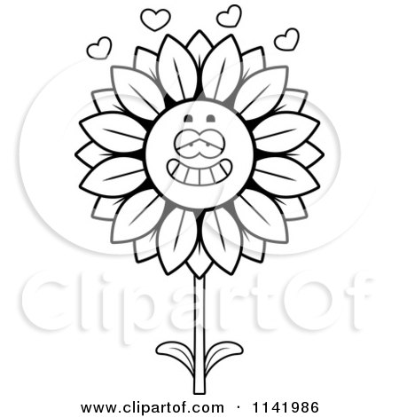 Cartoon Clipart Of A Black And White Sunflower Character In Love - Vector Outlined Coloring Page by Cory Thoman