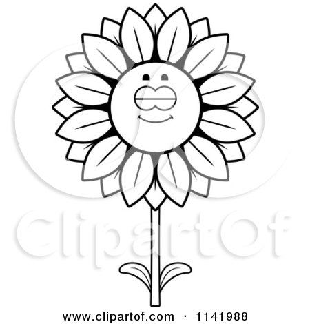 Cartoon Clipart Of A Black And White Sleeping Sunflower Character - Vector Outlined Coloring Page by Cory Thoman