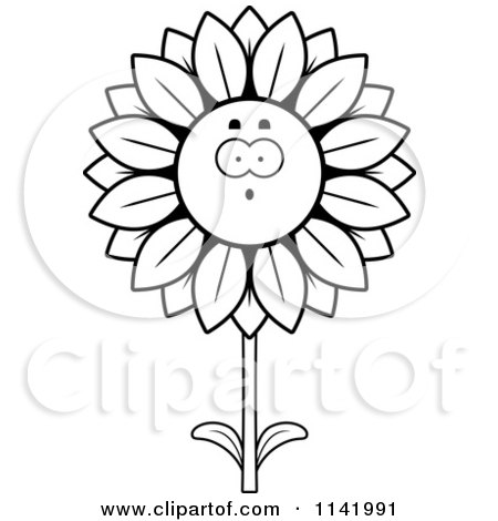 Cartoon Clipart Of A Black And White Surprised Sunflower Character - Vector Outlined Coloring Page by Cory Thoman