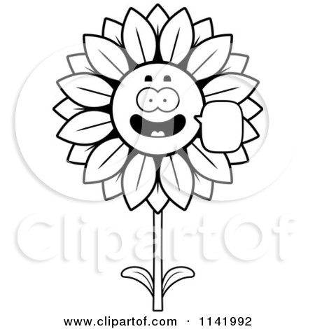 Cartoon Clipart Of A Black And White Talking Sunflower Character - Vector Outlined Coloring Page by Cory Thoman