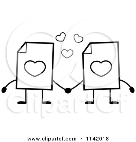 cartoon clipart of black and white love document mascots holding hands vector outlined coloring page by cory thoman