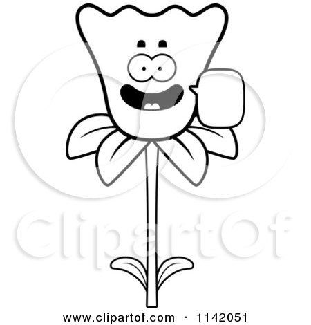 Cartoon Clipart Of A Black And White Talking Daffodil Flower Character - Vector Outlined Coloring Page by Cory Thoman