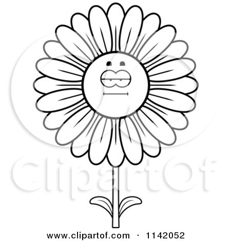 Cartoon Clipart Of A Black And White Bored Daisy Flower Character - Vector Outlined Coloring Page by Cory Thoman