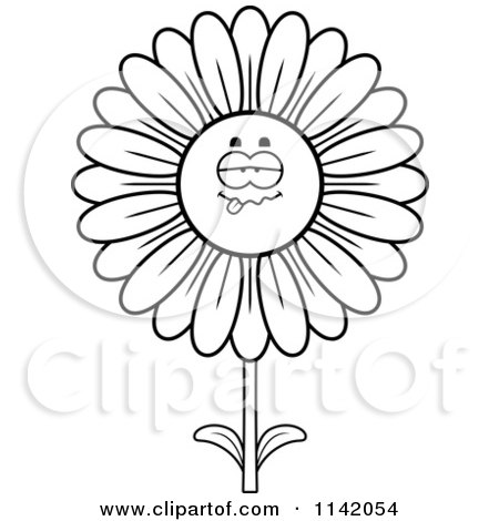 Cartoon Clipart Of A Black And White Sick Daisy Flower Character - Vector Outlined Coloring Page by Cory Thoman
