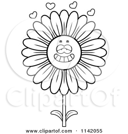 Cartoon Clipart Of A Black And White Daisy Flower ...
