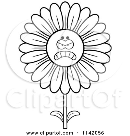 Cartoon Clipart Of A Black And White Angry Daisy Flower Character - Vector Outlined Coloring Page by Cory Thoman