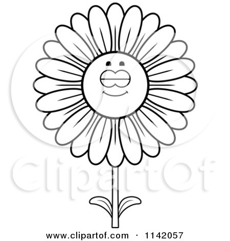Cartoon Clipart Of A Black And White Sleeping Daisy Flower Character - Vector Outlined Coloring Page by Cory Thoman