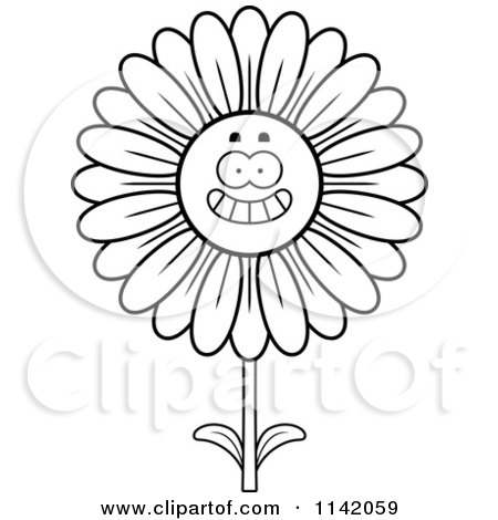 Cartoon Clipart Of A Black And White Happy Smiling Daisy Flower Character - Vector Outlined Coloring Page by Cory Thoman