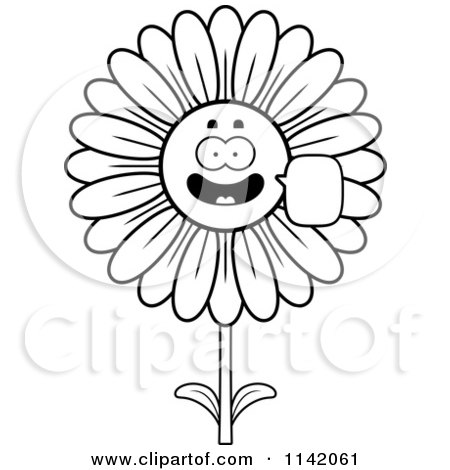 Cartoon Clipart Of A Black And White Talking Daisy Flower Character - Vector Outlined Coloring Page by Cory Thoman