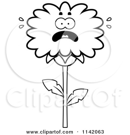 Cartoon Clipart Of A Black And White Scared Dandelion Flower Character - Vector Outlined Coloring Page by Cory Thoman