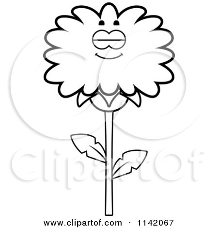Cartoon Clipart Of A Black And White Sleeping Dandelion Flower