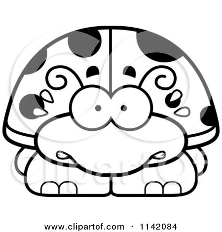 Cartoon Clipart Of A Black And White Scared Ladybug - Vector Outlined Coloring Page by Cory Thoman