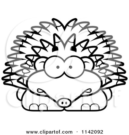 Cartoon Clipart Of A Black And White Scared Hedgehog - Vector Outlined Coloring Page by Cory Thoman
