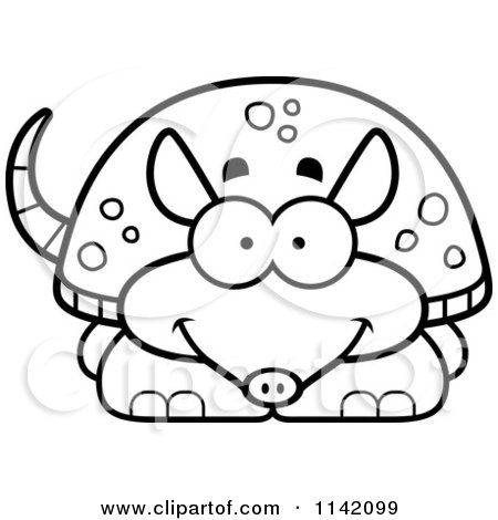 Cartoon Clipart Of A Black And White Happy Armadillo Vector