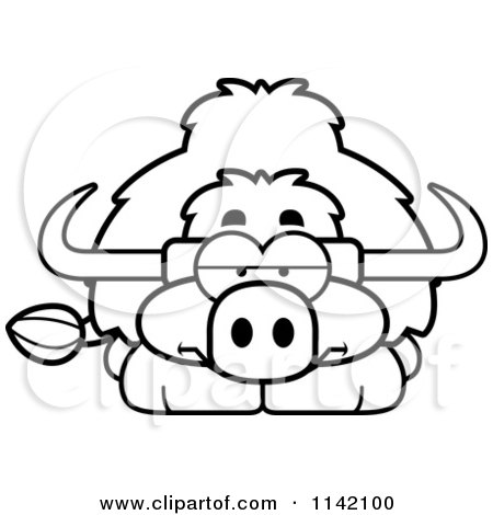 Cartoon Clipart Of A Black And White Bored Yak - Vector Outlined Coloring Page by Cory Thoman