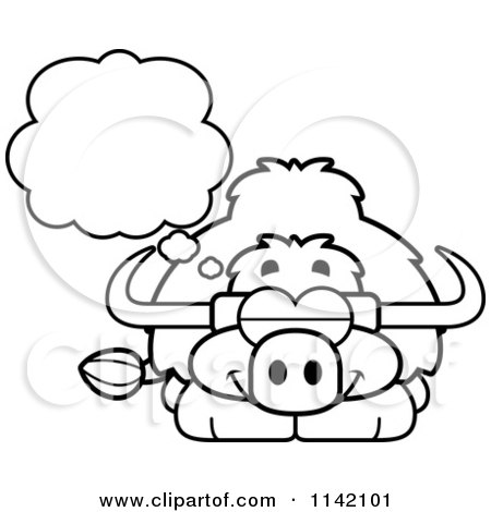 Cartoon Clipart Of A Black And White Dreaming Yak - Vector Outlined Coloring Page by Cory Thoman