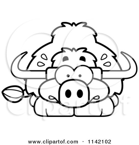 Cartoon Clipart Of A Black And White Scared Yak