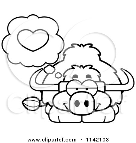 Cartoon Clipart Of A Black And White Yak In Love
