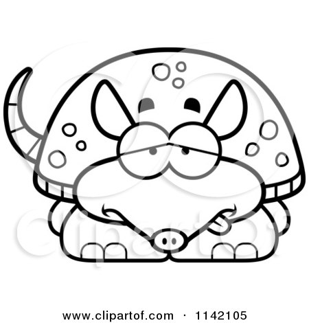 Cartoon Clipart Of A Black And White Sick Armadillo - Vector Outlined Coloring Page by Cory Thoman