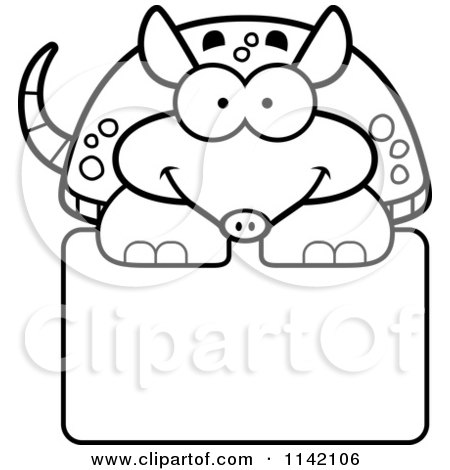 black and white happy armadillo over a sign by cory thoman - Armadillo Coloring Pages Print