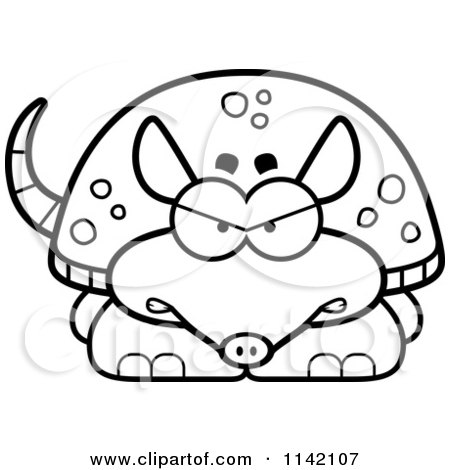 Cartoon Clipart Of A Black And White Angry Armadillo - Vector Outlined Coloring Page by Cory Thoman